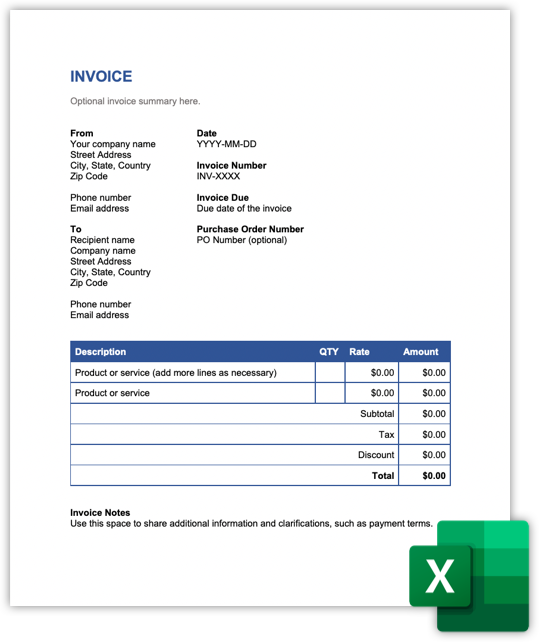 Free Invoice Template For Word Excel And Pdf