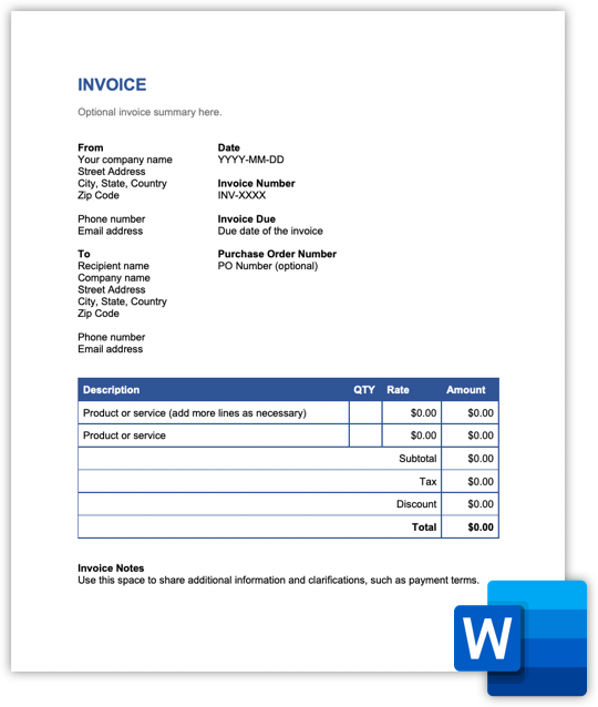 Hiveage - microsoft word invoice preview