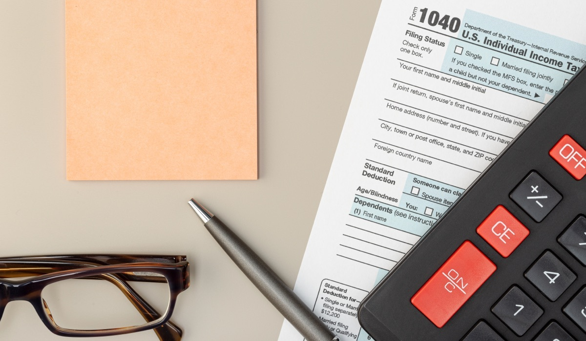 US individual income tax form on table