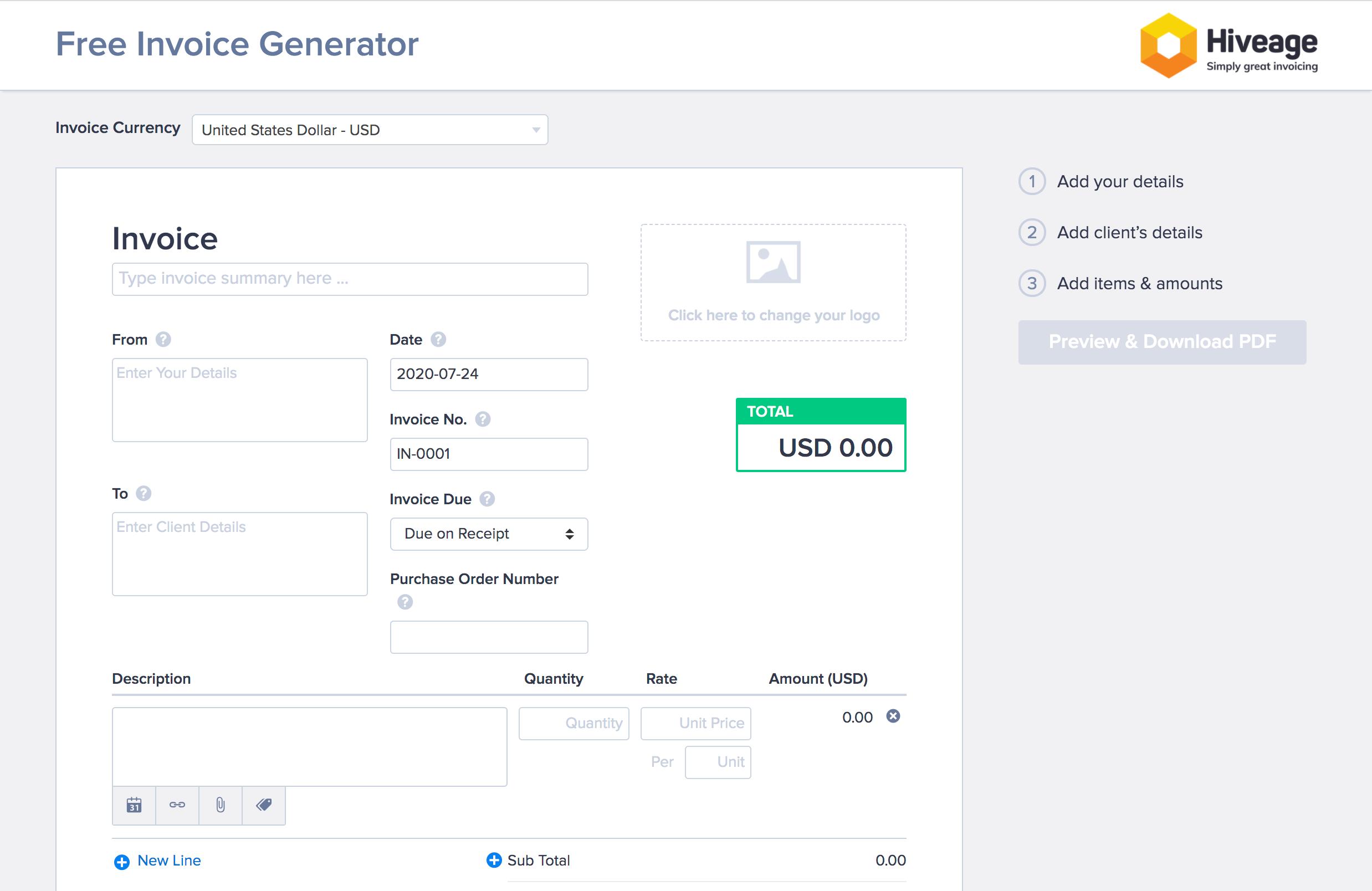 Hiveage free invoice generator