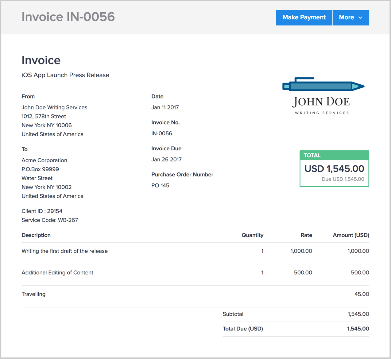 Downloadable Invoice Excel Invoicing For Writers  Hiveage Cra Tax Receipts Pdf with Towing Service Invoice Template Writerinvoice Invoice Template Microsoft Word Pdf