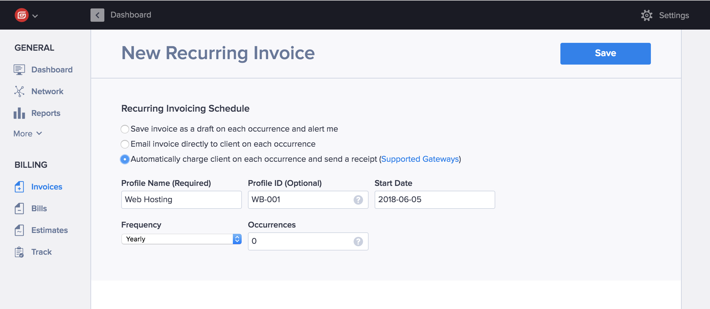 Creating a recurring invoice in Hiveage