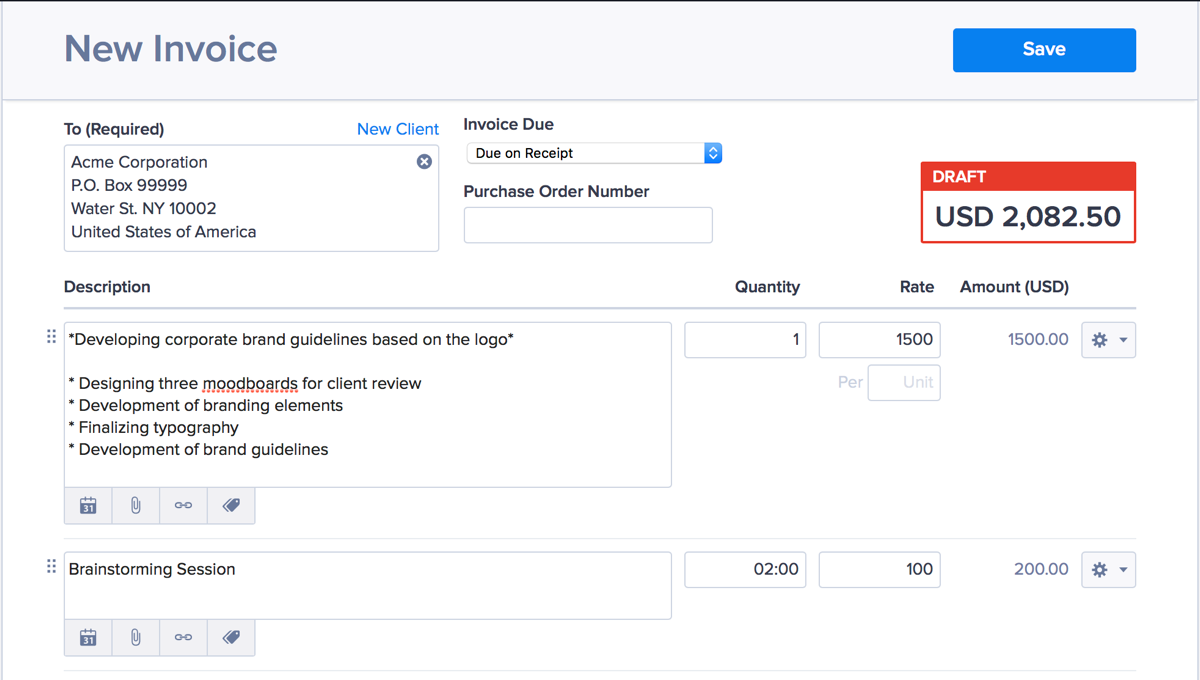 Screenshot: invoice itemization and formatting in Hiveage