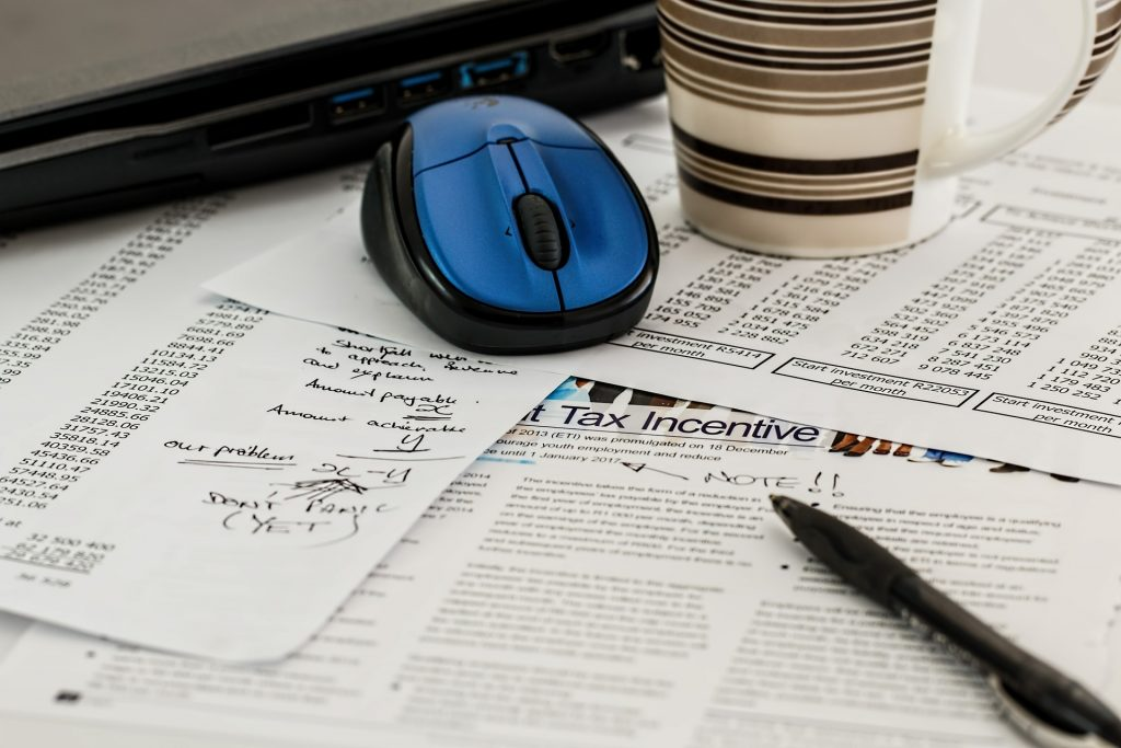 Financial documents on a desk