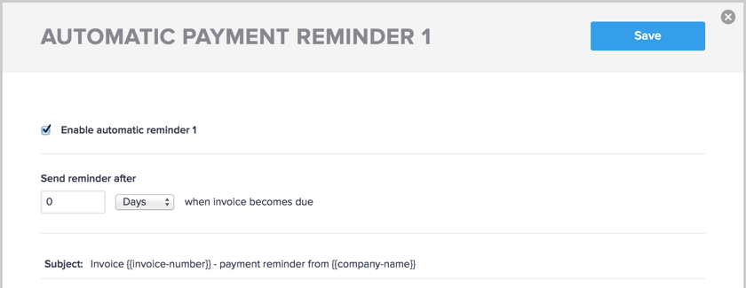 Enabling the automatic payment reminder